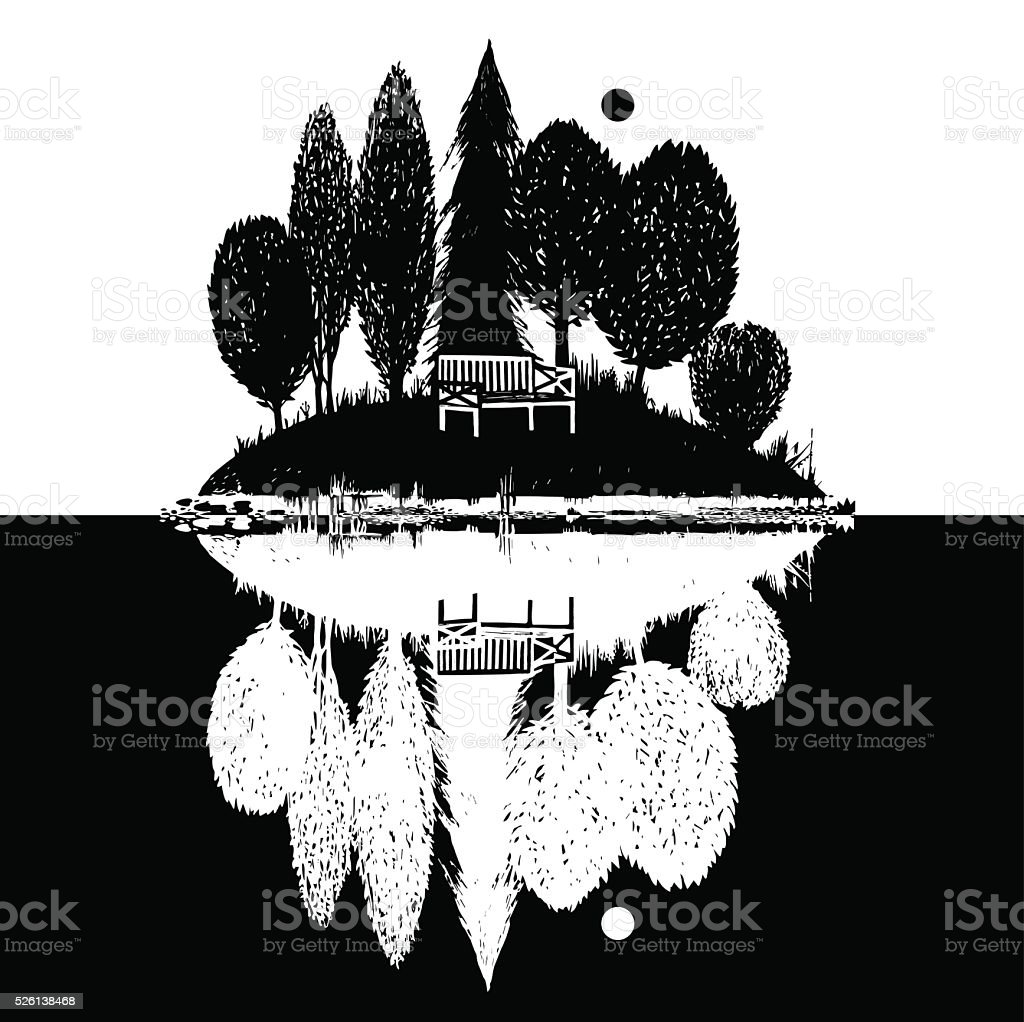 island with reflection vector art illustration