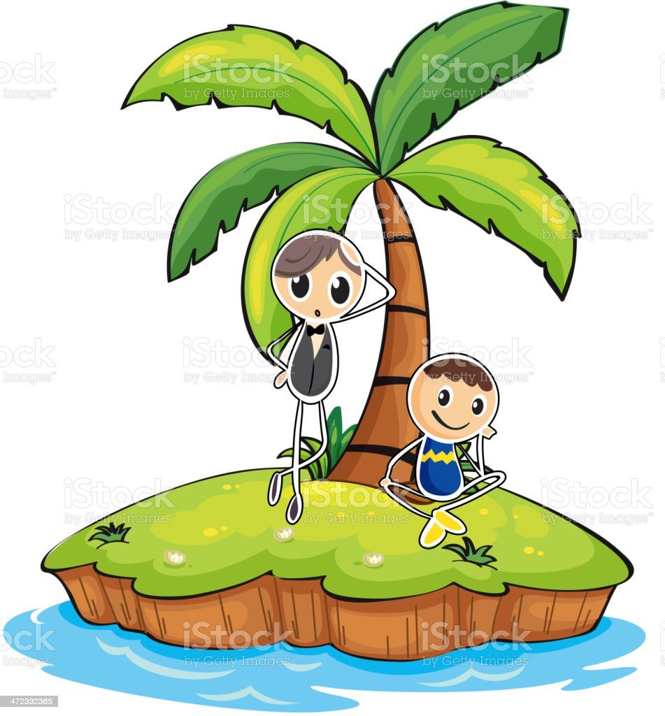 Island with two boys royalty-free stock vector art