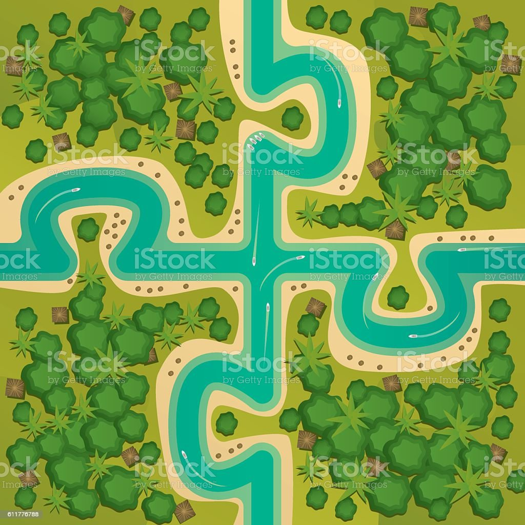 Islands in the form of connecting puzzles vector art illustration