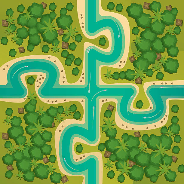 islands in the form of connecting puzzles - 森林 俯瞰点のイラスト素材/クリップアート素材/マンガ素材/アイコン素材