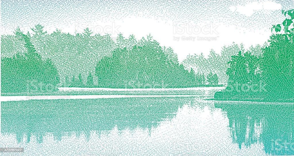 Islands In The Morning Mist vector art illustration