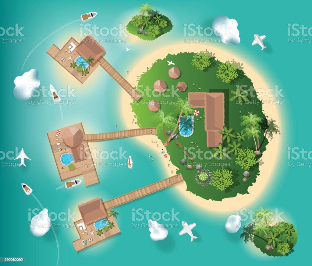islands top view for interior design, travel, with tree top , resort, vector illustration vector art illustration