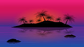 islands with coconut tree in the sea;sunset with islands background;vector design in concept beautiful place in dreaming