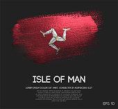 Isle of Man Flag Made of Glitter Sparkle Brush Paint Vector