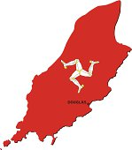 Isle of Man flag map with a capital city.