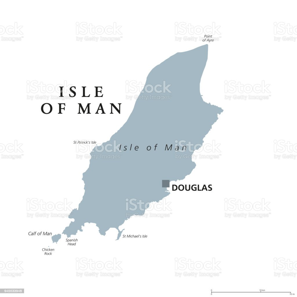 Isle Of Man Gray Political Map Stock Vector Art More Images of