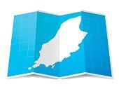 Map of Isle of Man folded and isolated on white background.