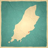 Map of Isle of Man with a retro style, a vintage effect on an old textured paper.