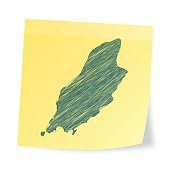 Map of Isle of Man scribbled on realistic yellow sticky note and isolated on white background.