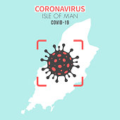 Map of Isle of Man with a cell of the novel coronavirus (COVID-19, 2019-nCoV) in the center of a red viewfinder. White map isolated on a blue green background. (colors used: blue, green, red and black). Conceptual image: coronavirus detected, closing of borders, area under control, stop coronavirus, defeat the virus, quarantined area, spread of the disease, coronavirus outbreak on the territory, virus alert, danger zone, confined space. Vector Illustration (EPS10, well layered and grouped). Easy to edit, manipulate, resize or colorize.