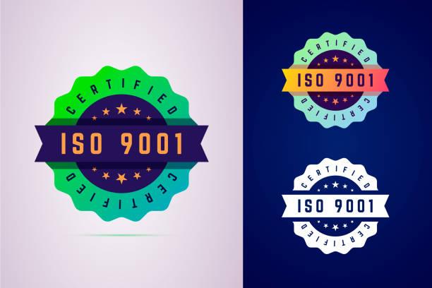 odznaka z certyfikatem iso 9001. etykieta trzech wariantów kolorów dla produktu certyfikowanego. - pieczęć znaczek stock illustrations