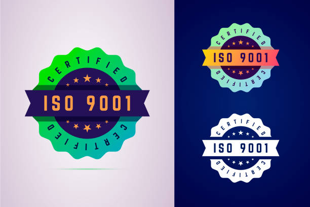 iso 9001 certified badge. three color variants label for certificated product. - stamp stock illustrations