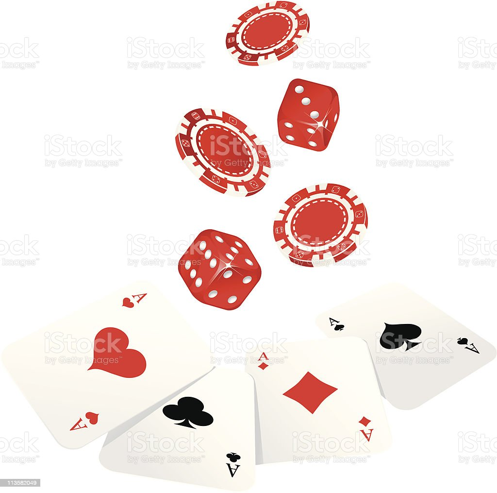 Isolate gambling chip ,cards and dices royalty-free stock vector art