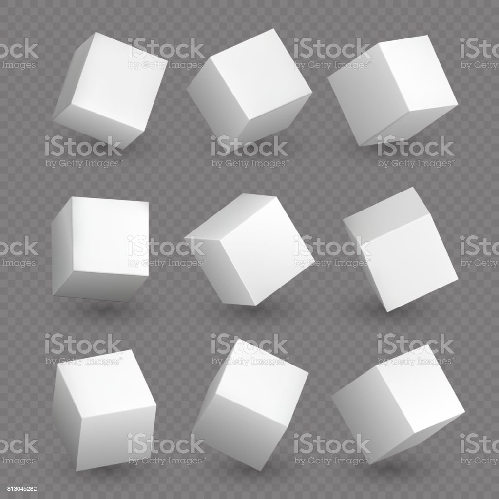 Isolated 3d cubics. White cubes or box shapes with shadows vector set vector art illustration