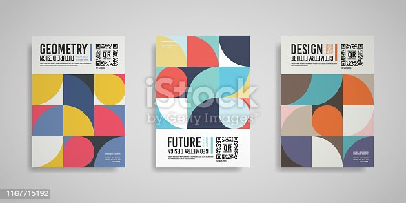 Isolated abstract geometric A4 paper design. Original vector multi colored blank cover illustration on neutral background. EPS10.