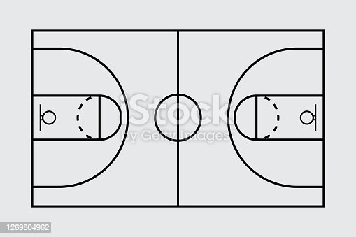 istock Isolated aerial view of a basketball court stock illustration 1269804962