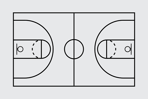 Isolated aerial view of a basketball court stock illustration