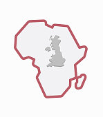 Isolated Africa map with  a map of the UK