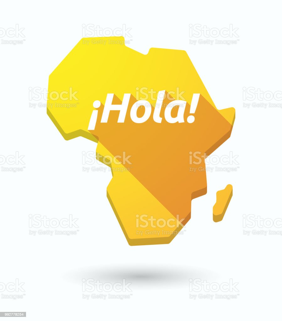 Isolated Africa Map With The Text Hello In Spanish Language Stock