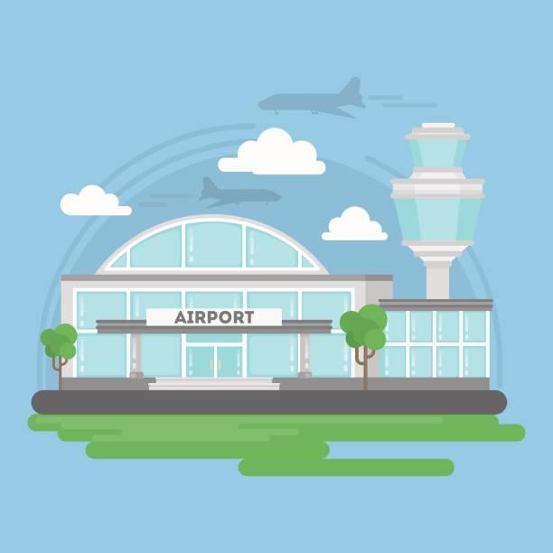 illustrations, cliparts, dessins animés et icônes de bâtiment isolé de l'aéroport. - terminal aéroportuaire