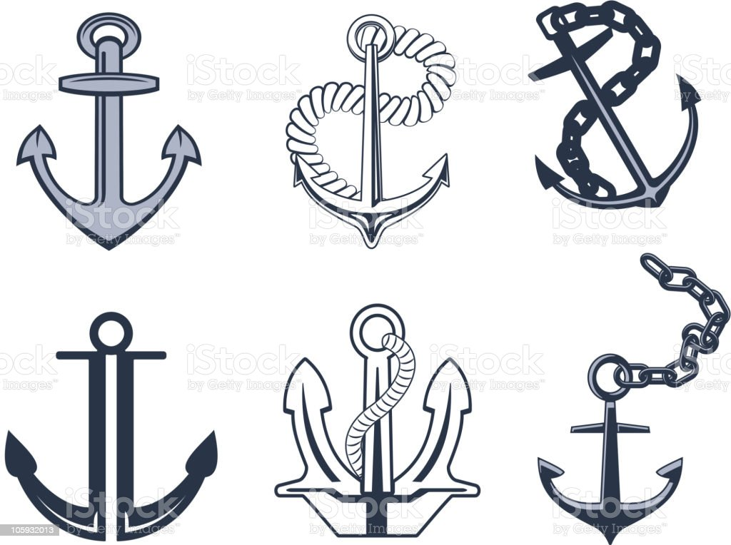 Isolated anchors royalty-free stock vector art