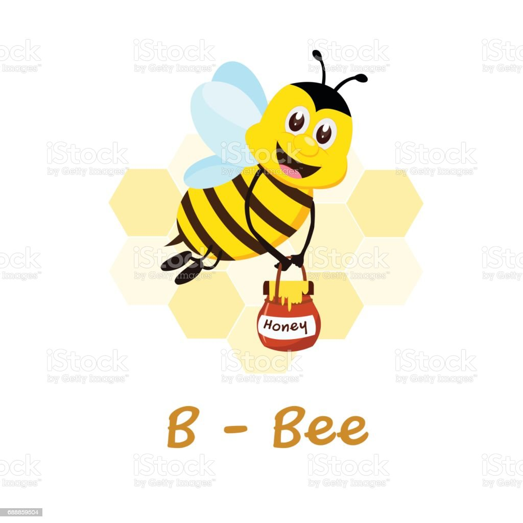 isolated animal alphabet for the kids b for bee royalty free stock vector art