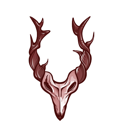 Isolated animal skull with branched horns. Design