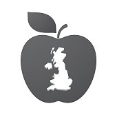 Isolated apple fruit with  a map of the UK