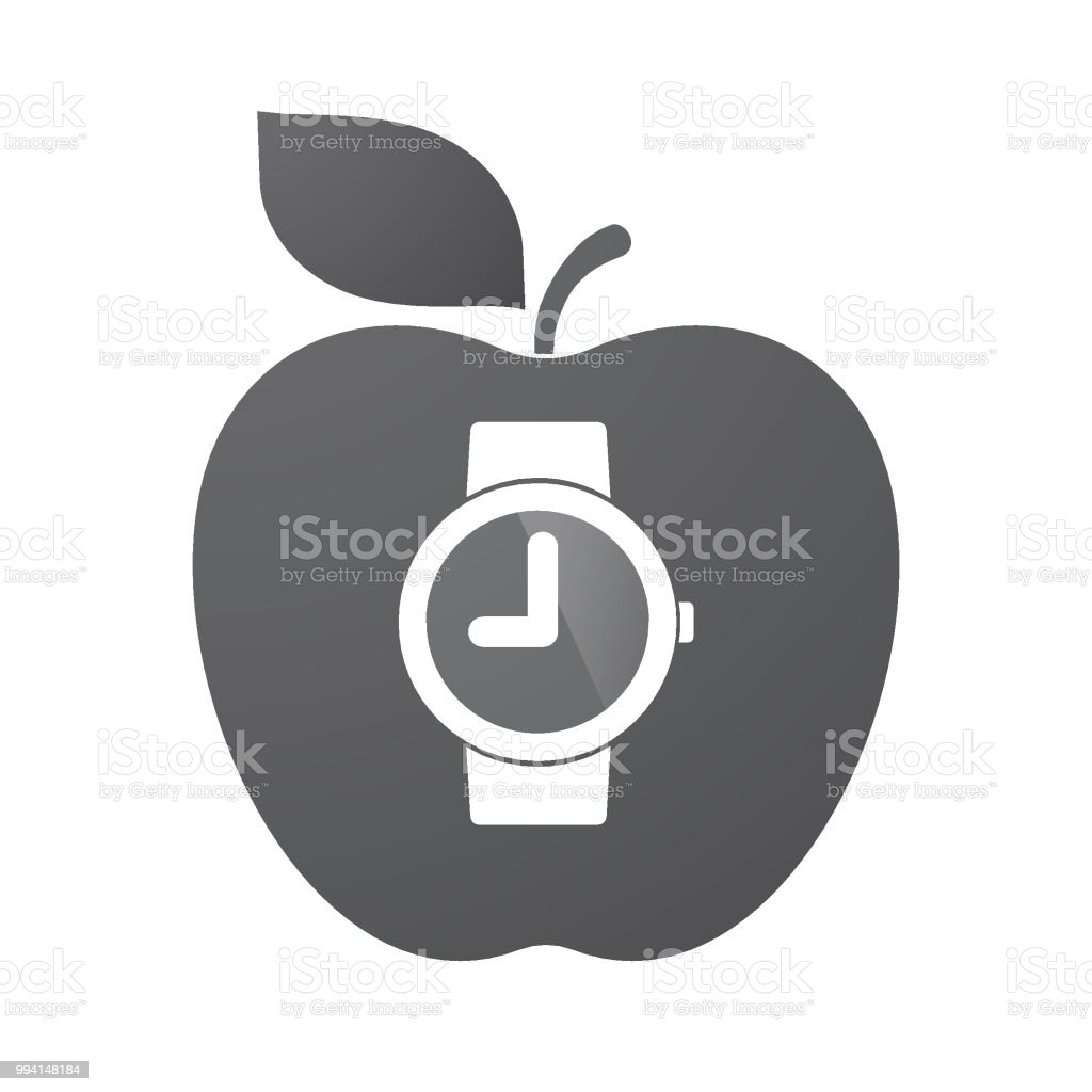 Isolated apple fruit with a wrist watch vector art illustration