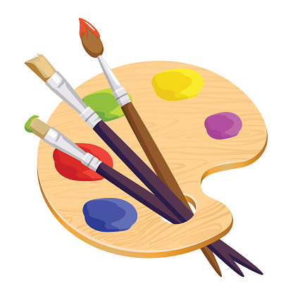 Isolated artist palette with three long different brushes inside on