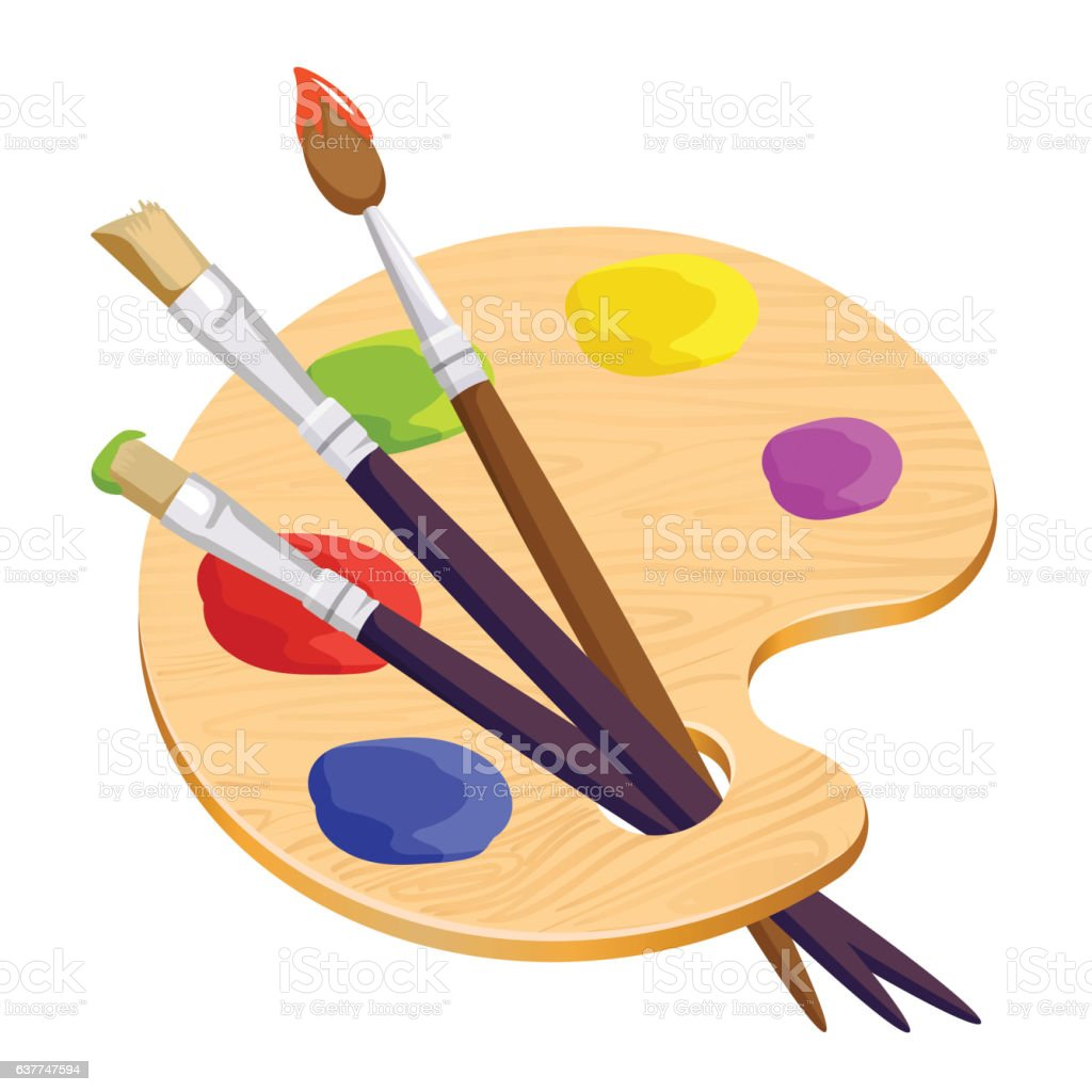 Isolated artist palette with three long different brushes inside on vector art illustration