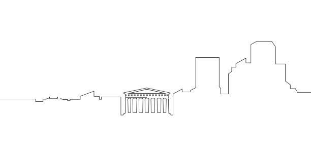 stockillustraties, clipart, cartoons en iconen met geïsoleerde athene stadsgezicht - athens