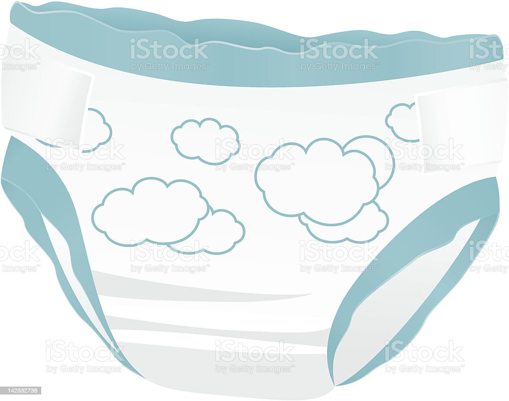Isolated Baby diaper with funny Cloud. Blue panties. Vector royalty-free isolated baby diaper with funny cloud blue panties vector stock vector art & more images of 0-11 months