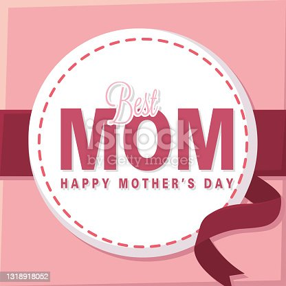 istock Isolated badge with text Mother day 1318918052