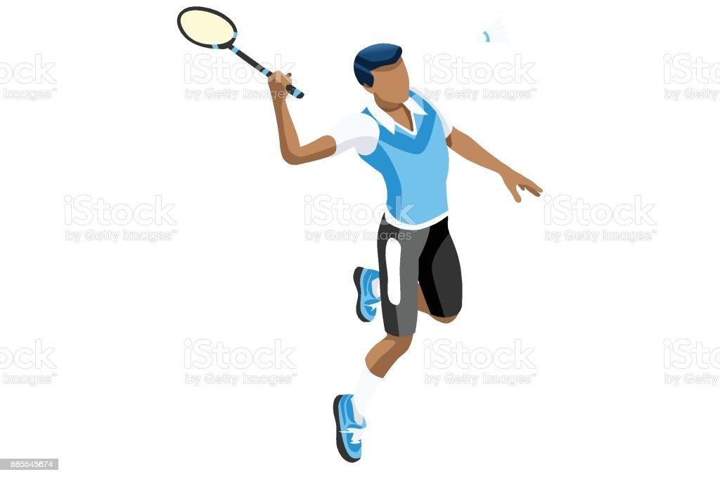 Badminton isolé Vector Illustration Boy - Illustration vectorielle