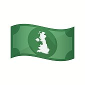 Isolated bank note with  a map of the UK
