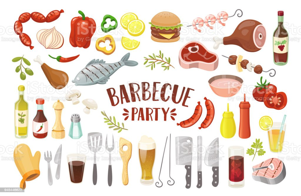 Éléments de Party Barbecue isolées. - Illustration vectorielle