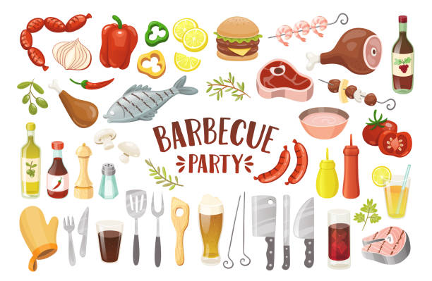 Isolated Barbecue Party Elements. Barbecue party icons set. Grilled fish, meat, chicken, prawns, drumstick, sausages, burger, peeper, drinks, sauces and condiments. Isolated elements. Vector illustration. salt seasoning stock illustrations