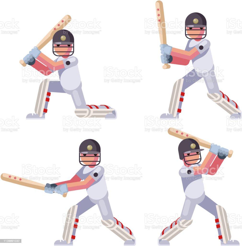 Isolated batting sport game cricket batsman baseball ball bat...