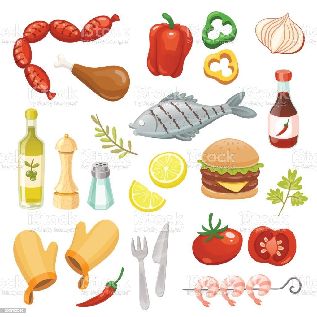 Elementos isolados de festa churrasco. Ilustração em vetor. - ilustração de arte em vetor
