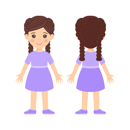 Isolated Beautiful Brunette girl in dress and shoes. Front and back views. Flat color cartoon style. White background.Vector stock illustration.