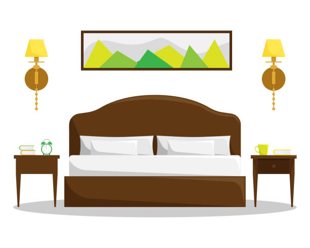 Isolated bedroom interior with bed and bedside tables. Isolated bedroom interior with double bed and bedside tables. bed furniture stock illustrations