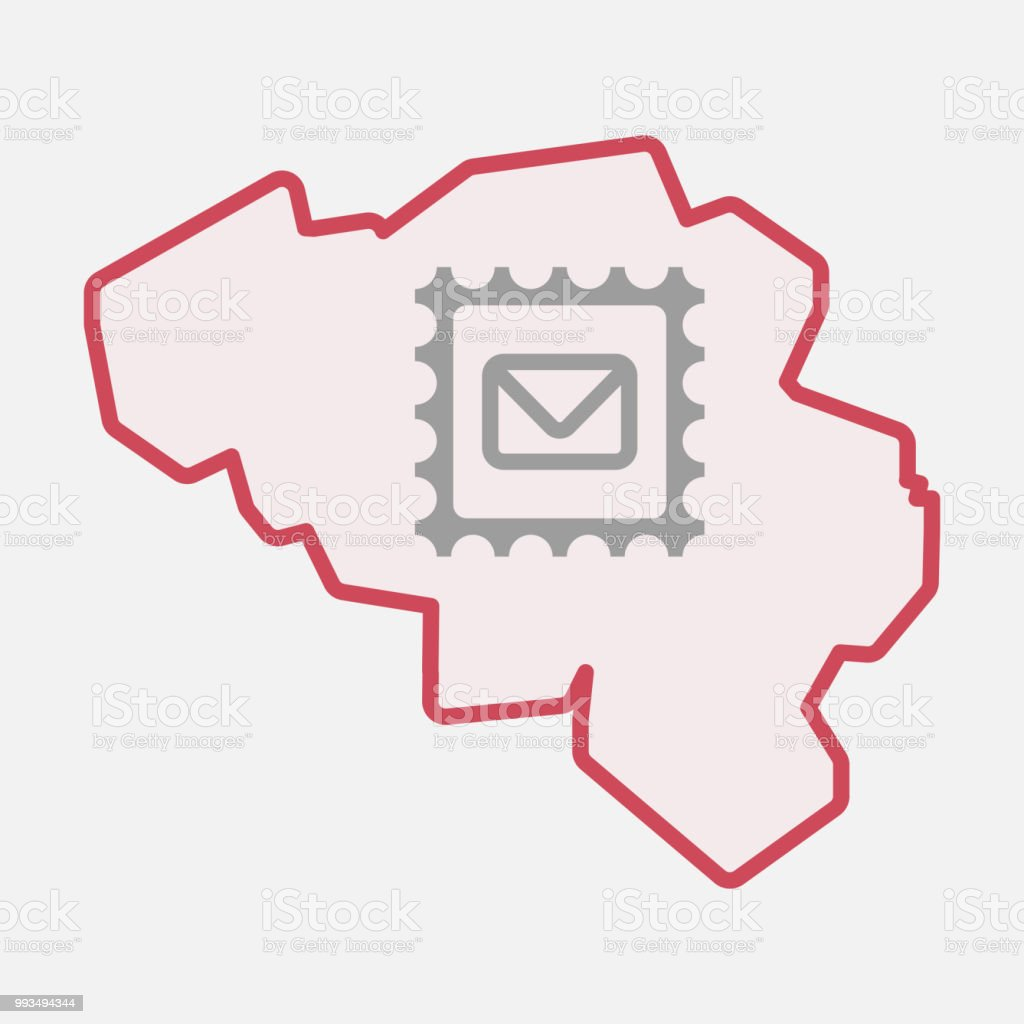 isolated belgium map with a mail stamp sign royalty free isolated belgium map with a