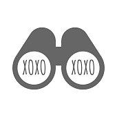 Isolated binoculars with    the text XOXO