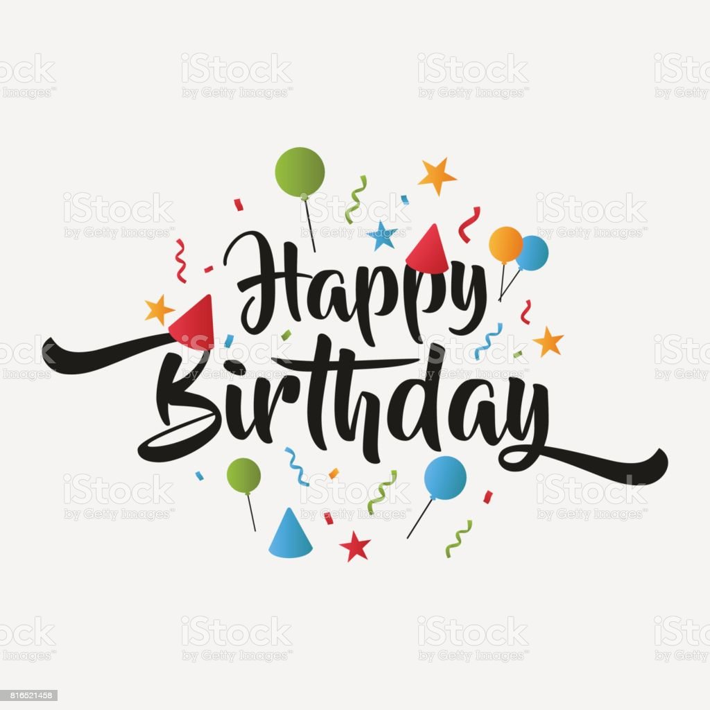 Isolated Birthday Greeting Card Happy Birthday Lettering