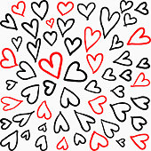 isolated black and red hearts childish hand drawn heart symbols  line art for background, wallpaper, texture, banner, label, cover, card, wrapping paper etc. love or valentine's theme. vector design