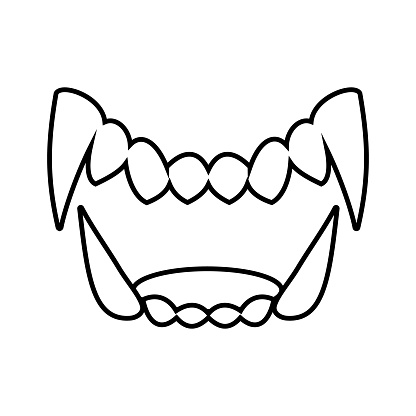 Isolated Black And White Drama White Fang Icon Stock