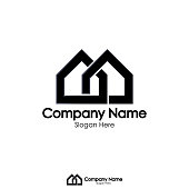 isolated black color real estate logo