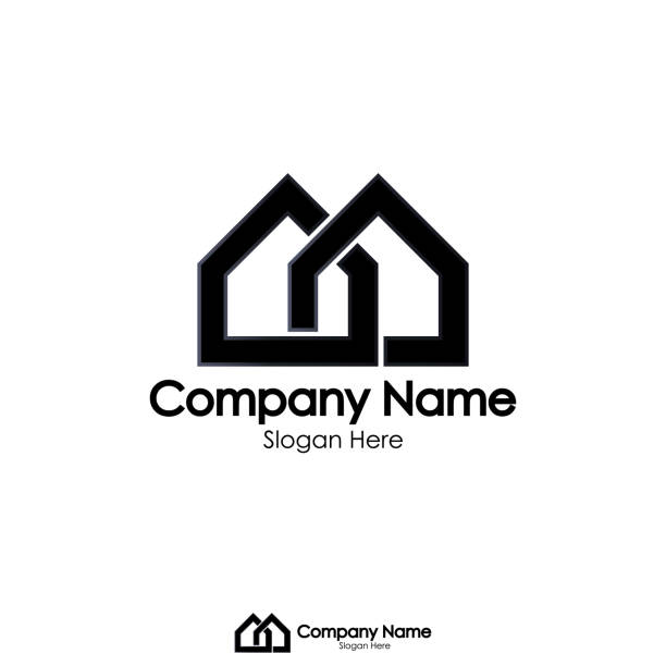 isolated black color real estate logo vector art illustration
