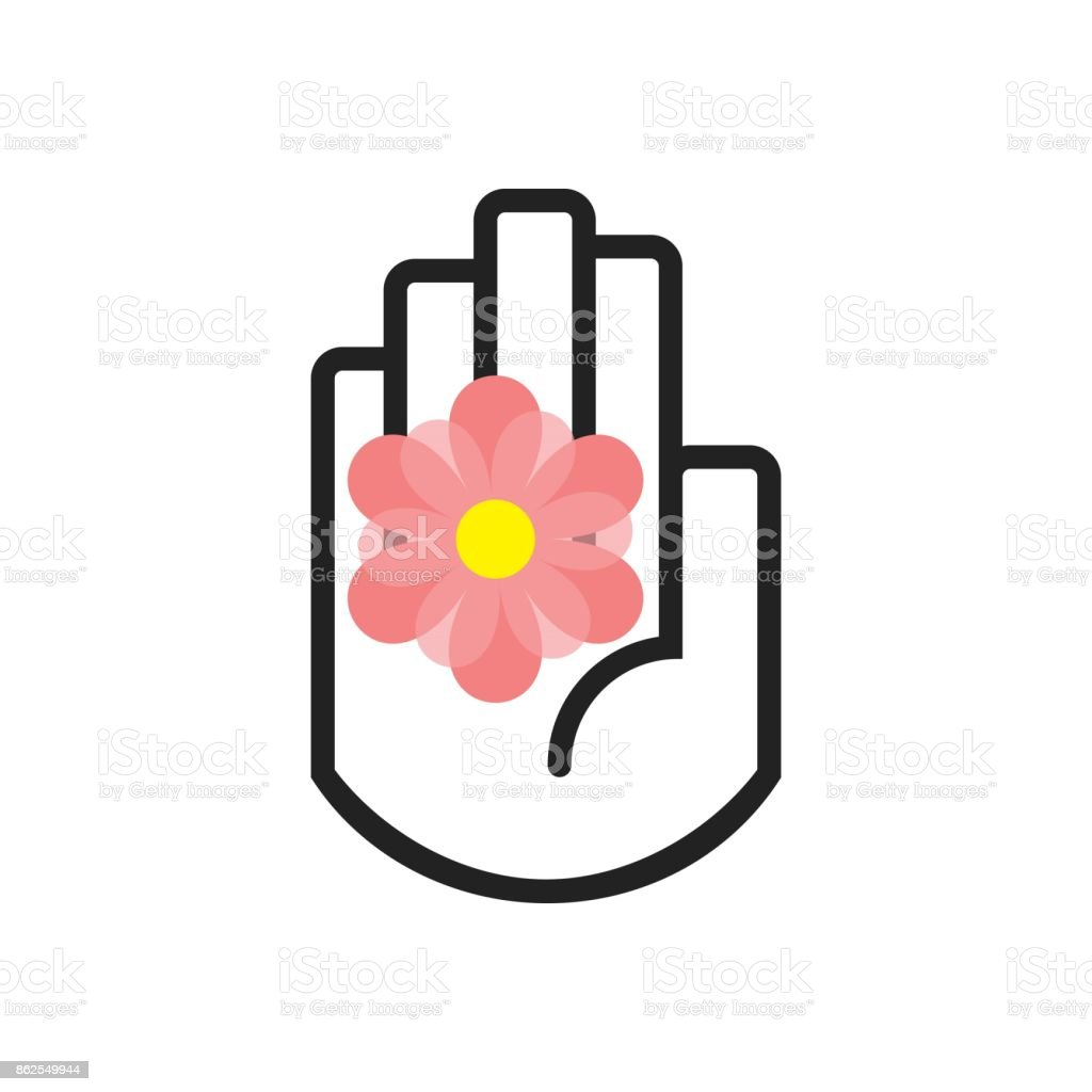 Isolated Black Line Hand Symbol Holding Pink Daisy Flower Sign Icon